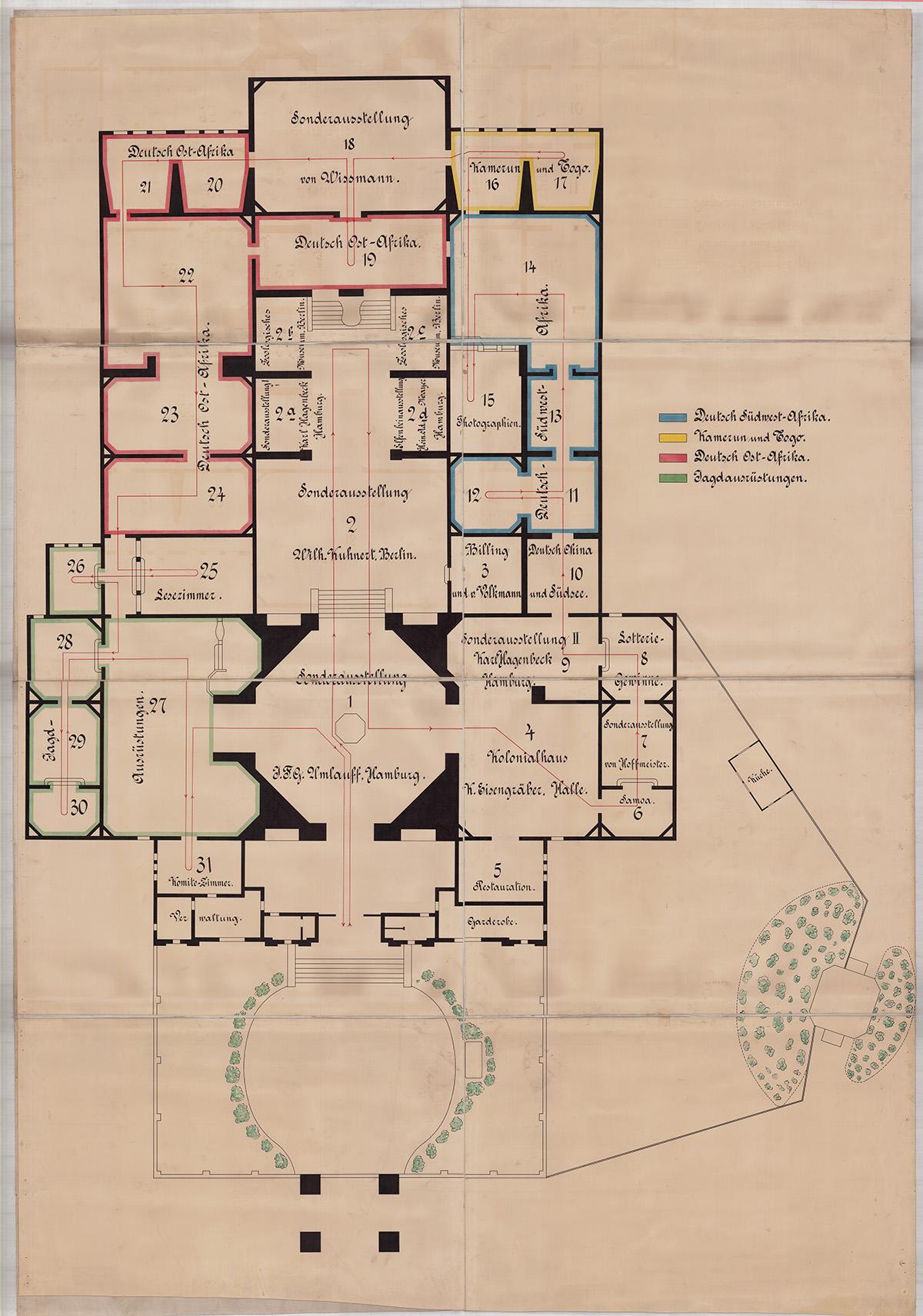 "Plan der ""Deutsch-Kolonialen Jagdausstellung"" 1903; Quelle: Stadtarchiv Karlsruhe 8_PBS_XII_36"